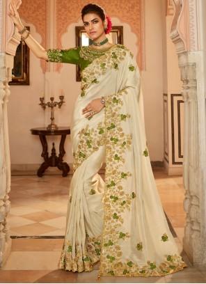 Fancy Fabric Patch Border Cream Traditional Designer Saree