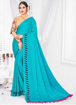 Fancy Fabric Patch Border Firozi Classic Saree