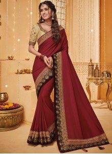 Fancy Fabric Patch Border Traditional Saree in Rust