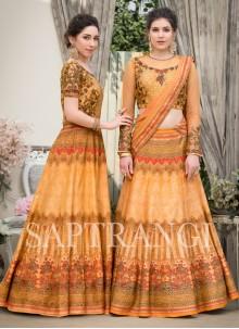 Fancy Fabric Peach Designer Gown