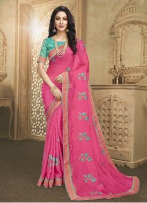 Fancy Fabric Pink Designer Saree