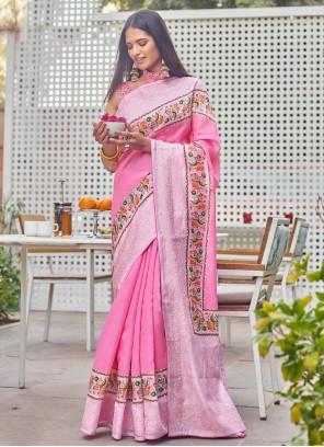 Fancy Fabric Pink Digital Print Traditional Saree