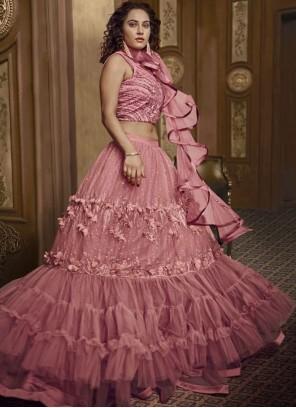 Fancy Fabric Pink Embroidered Designer Lehenga Choli