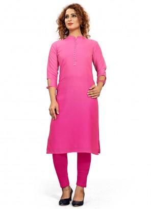 Fancy Fabric Pink Party Wear Kurti