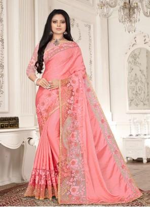 Fancy Fabric Pink Resham Designer Saree