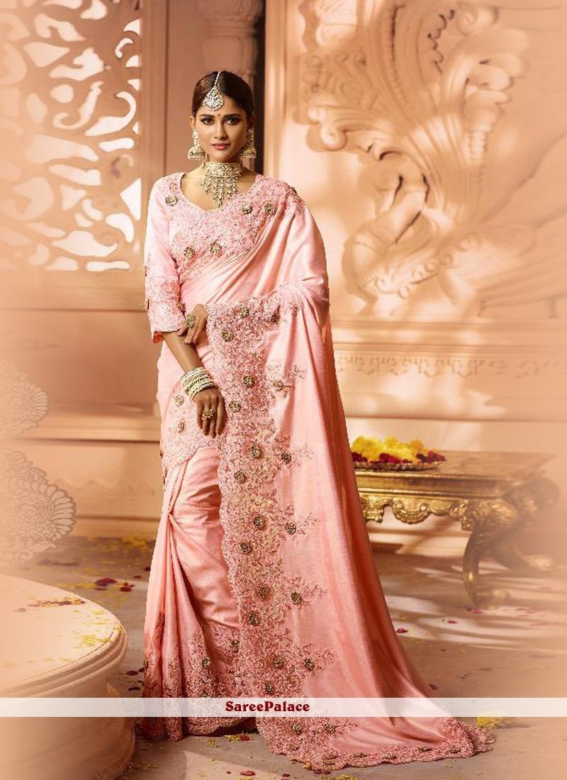 Fancy Fabric Pink Resham Saree