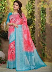 Fancy Fabric Pink Weaving Designer Traditional Saree