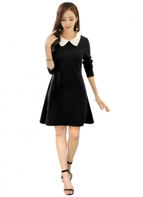 Fancy Fabric Plain Black Casual Kurti
