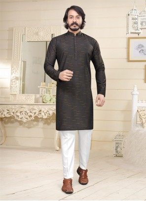 Fancy Fabric Plain Black Kurta Pyjama