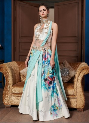 Fancy Fabric Print Multi Colour Designer Gown