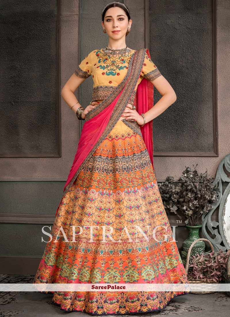Fancy Fabric Print Multi Colour Lehenga Choli