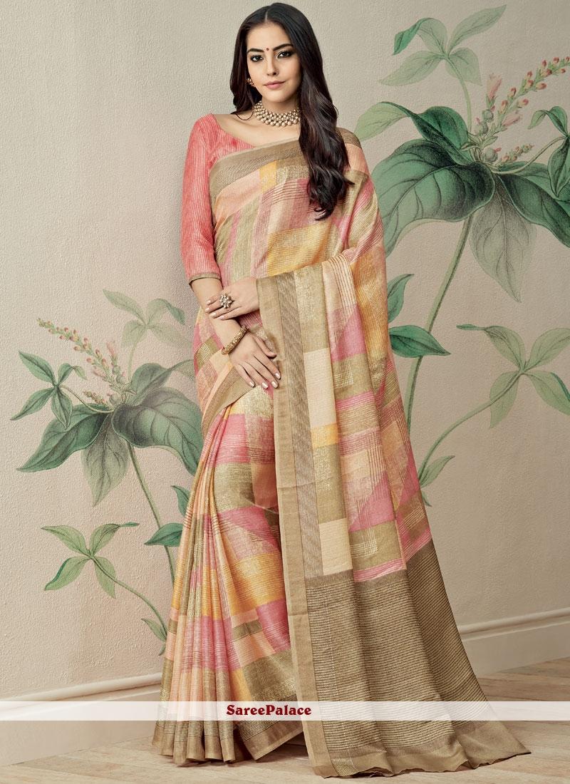 Fancy Fabric Print Work Printed Saree