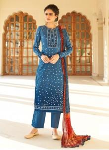 Fancy Fabric Printed Blue Designer Palazzo Salwar Suit
