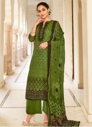 Fancy Fabric Printed Green Palazzo Designer Salwar Kameez