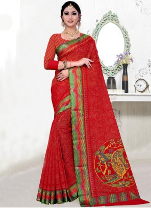 Fancy Fabric Printed Red Bollywood Saree
