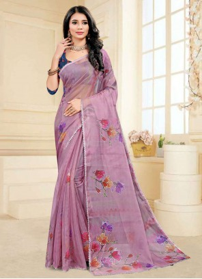 Fancy Fabric Purple Ceremonial Printed Saree
