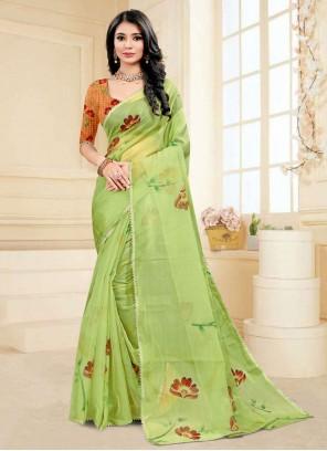 Fancy Fabric Green Printed Saree