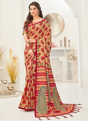 Fancy Fabric Printed Saree in Multi Colour