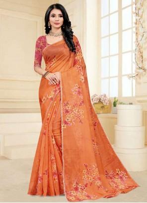 Fancy Fabric Printed Saree in Orange