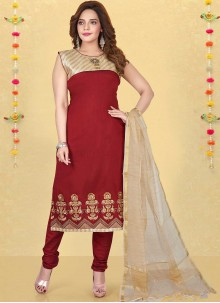 Maroon Fancy Fabric Readymade Suit