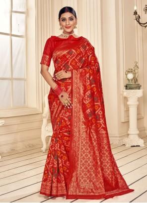 Fancy Fabric Red Print Trendy Saree