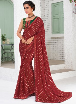 Fancy Fabric Red Saree