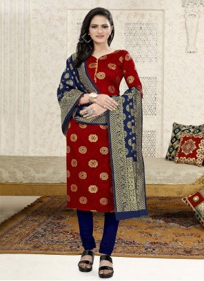 Fancy Fabric Red Weaving Churidar Suit