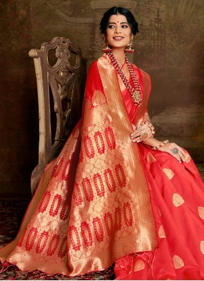 Fancy Fabric Red Weaving Traditional Designer Saree