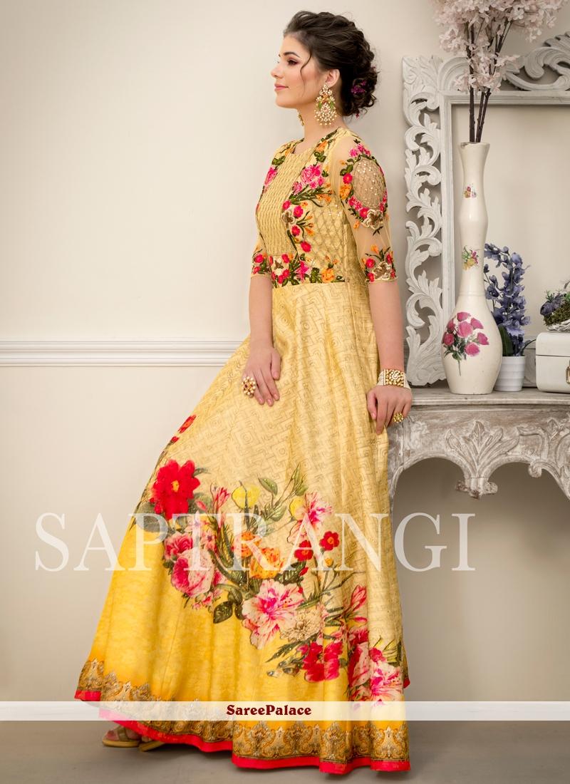 Fancy Fabric Resham Multi Colour Designer Gown
