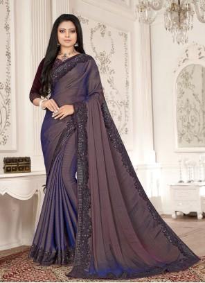 Fancy Fabric Resham Purple Designer Saree
