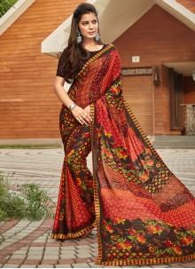 Fancy Fabric Saree in Multi Colour