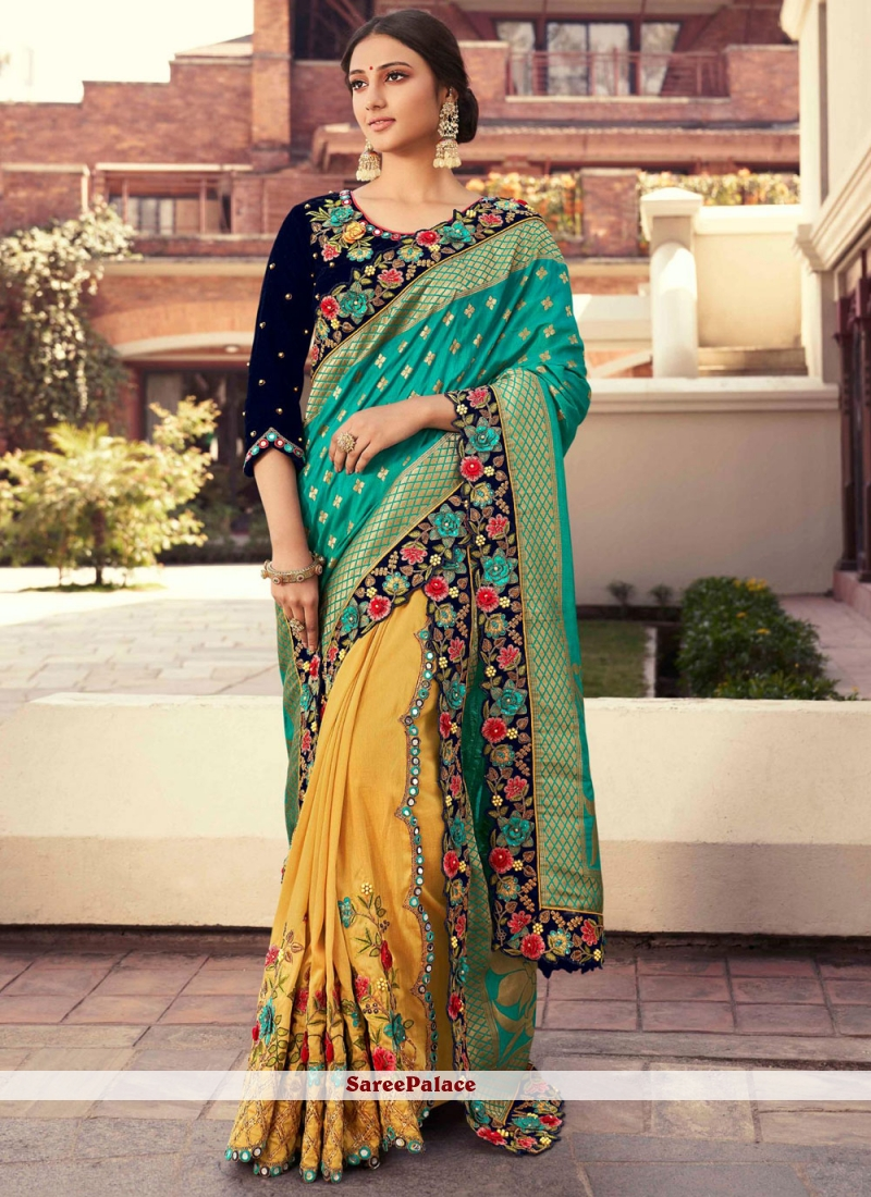 Fancy Fabric Sea Green and Yellow Embroidered Designer Half N Half Saree