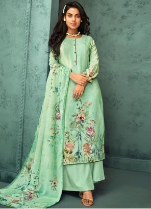 Fancy Fabric Sea Green Designer Palazzo Salwar Suit