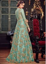 Fancy Fabric Sea Green Embroidered Floor Length Anarkali Suit