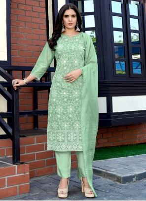 Fancy Fabric Sequins Sea Green Readymade Suit