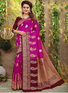 Fancy Fabric Traditional Saree in Hot Pink