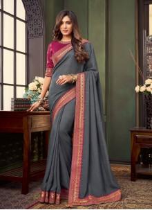 Fancy Fabric Trendy Saree in Grey