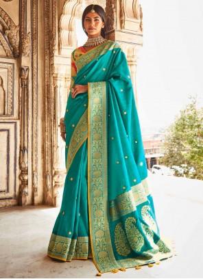 Fancy Fabric Turquoise Designer Traditional Saree