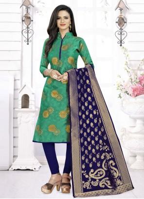 Fancy Fabric Weaving Churidar Suit in Green
