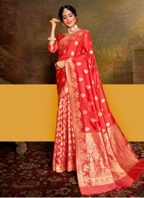 Fancy Fabric Weaving Designer Traditional Saree in Rose Pink