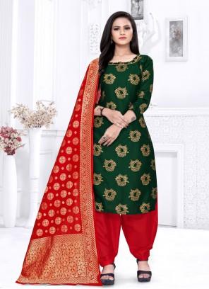 Fancy Fabric Weaving Green Punjabi Suit