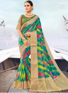 Fancy Fabric Weaving Multi Colour Designer Traditional Saree