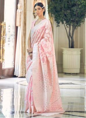 Fancy Fabric Weaving Pink Designer Traditional Saree