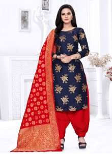 Blue Fancy Fabric Weaving Punjabi Suit