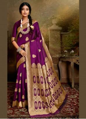 Fancy Fabric Weaving Purple Designer Traditional Saree