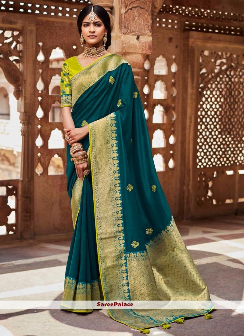 Fancy Fabric Weaving Rama Designer Saree