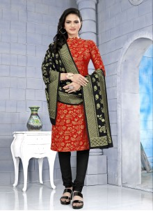 Fancy Fabric Weaving Red Churidar Suit