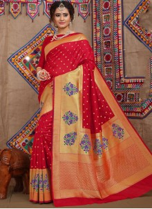 Fancy Fabric Weaving Red Designer Traditional Saree