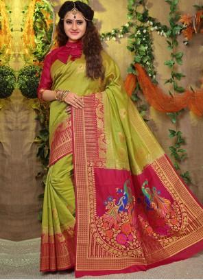 Green Fancy Fabric Weaving Traditional Designer Saree