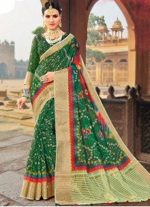 Fancy Fabric Weaving Traditional Designer Saree in Green